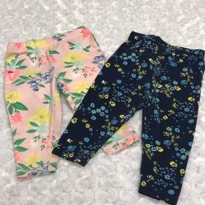 Two floral leggings size 6 months